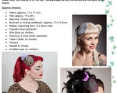 Cocktail Hat Fascinator Pdf Pattern, Tutorial. No sewing machine or millinery skills required! Burlesque, wedding, rockabilly, gothic
