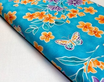 Northcott Ming Garden Butterfly Butterflies Blue Blossoms Leaves Quilting and Sewing Fabrics Textiles