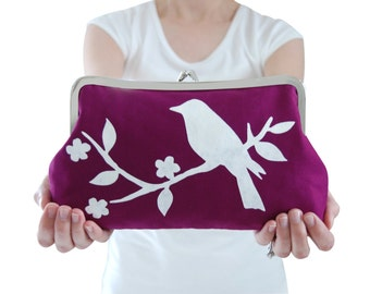 Screen printed handbag, Purple clutch bag, Metal frame purse, Small purple handbag, Purple evening clutch, Bird clutch bag, Handmade clutch