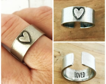 Adjustable Ring, Pewter Heart Ring, Gift for Her, Inside Message, Loved, Personalized Ring, Hidden Message, Custom Christmas Gift
