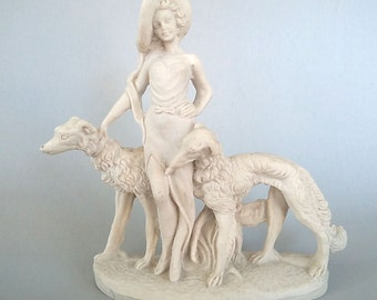 Art Deco Lady FREE SHIPPING with her Wolfhounds or Borzois Figurine