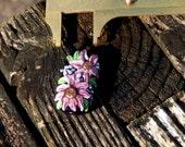 Pink Sun Flowers, Focal Bead, Handmade Artisan Glass Lampwork Bead, Simply Lampwork by Nancy Gant SRA G55