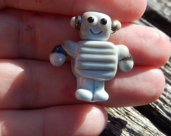 Mr Robot, Lampwork Bead, Simply Lampwork by Nancy Gant, SRA G55
