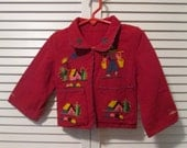 Vintage Child's/ Toddler's Embroidered Red Wool Jacket - Mexico