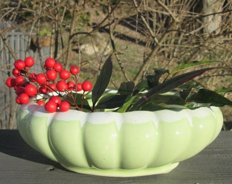 Vintage Lime Green Oval Planter/ Flower Pot - Lime Green Ceramic Planter