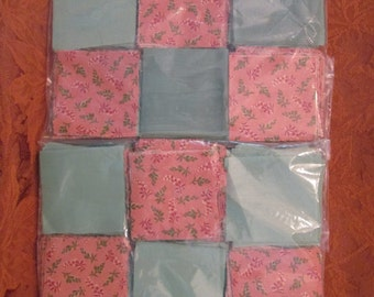 """Quilt Blocks - Large Batch of Precut 3"""" Quilt Blocks - Peach and Mint/ Calico and Solid"""