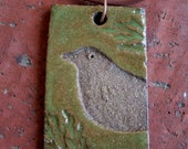 Moss Green and Brown Rustic Bird Pendant