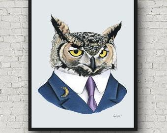 Oversized Horned Owl print - Ryan Berkley Illustration - 16x20 or 20x28 inches - Modern Decor - Modern Nursery - Modern Kids