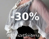 JANUARY SALE Light Grey and White Wavy Short Nuno Felted Poncho Capelet Summer Poncho with Flower Closure