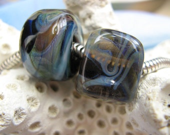 BHB Hip to be Square Organic Mist set of two big hole beads