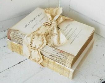 Old Rustic Book Bundle Embellished w/ Vintage Ecru Lace Shabby Photo Prop Wedding Decor