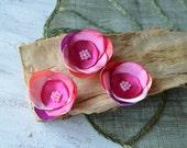 Satin fabric flowers, silk flower appliques, small satin roses, rainbow wedding flowers, flower embellishment (3pcs)- PINK RAINBOW ROSES