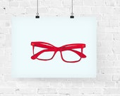 Red Glasses Fashion Illustration Art Print
