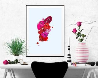 7 Red Nail Polishes Fashion Illustration Art Poster