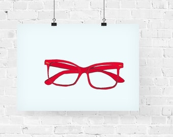 Red Glasses Fashion Illustration Art Print