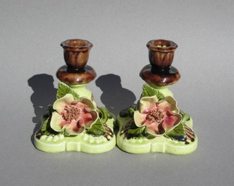 Vintage Italian Pottery Candle Holders Cottage Decor Ceramic Floral Candleholder Pair Chartreuse & Pink Flowers