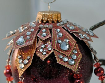 Maroon with red dangles - Christmas Ornament