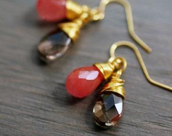 Cherry Quartz and Smoky Quartz Gold Earrings