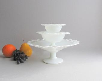 Vintage Milk Glass Bowls, Pedestal Bowls, Footed Bowls, Milk Glass Instant Collection, Wedding Bowls Set of 3