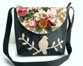 Bird on Branch Messenger Bag - Peace Dove- English Garden - Adjustable Strap - Distressed Black Vegan Leather