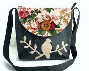 Bird on Branch Messenger Bag - Peace Dove- English Garden - Adjustable Strap - Distressed Black Vegan Leather