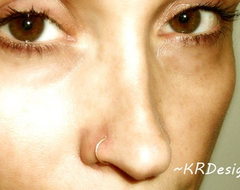 14K Yellow Gold Filled-Solid Gold-Nose Rings-Septum-Tragus-Earrings-Customized / Free US Shipping