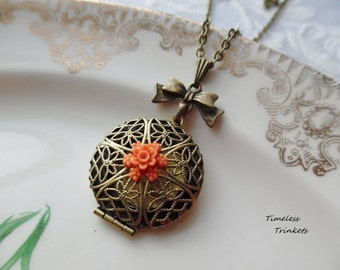 1/2 Price Sale- Scent Locket Necklace with Vintage Flower Charm