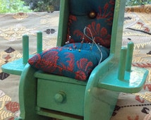 S A L E     Vintage sewing rocking chair with pincushions & drawer