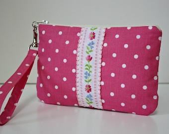 Pink Polka Dot Wristlet / Clutch