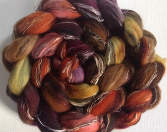 Hand dyed wool roving merino linen 2.65ozs ready to ship