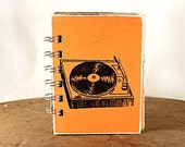 Tangerine Orange Record Player - One-of-a-Kind Screen-Printed Pocket Journal
