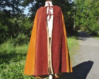 Lined hooded cape, fabric piecework cloak, long handmade wrap, women medium large, men small medium, gold and russett maroon