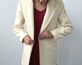 Vintage Ivory Cream Wool Buttoned Blazer/Coat Size M
