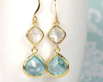 Long Aquamarine and Clear Gold Framed Stone Dangle Earrings, Gold Earrings, Aquamarine Gold Earrings, Long Gold Earrings [#893]