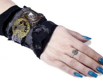 Steampunk Textile Wrist Cuff INDUSTRIAL Black Leather GRuNGEd Clockwork Mens HARDWARE ESCUTCHEON PuNk Burning Man - Steampunk by edmdesigns