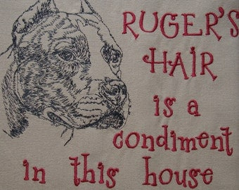 Dog Hair is a Condiment - Tea Towel - Kitchen Towel - Dish Towel - Home Decor - Breed Outline - Pit Bull - Personalized