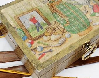 Rustic Box, Decorated Storage Organizer, Treasures Trinket Box, Golf Club,  Decoupage Wooden
