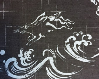 Japanese cotton dobby fabric Rabbit Wave usagi dark indigo blue and faded denim