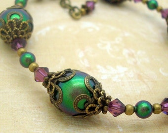 Adjustable Bracelet in the Neo Victorian Style with Scarabaeus Green Swarovski Pearls and Purple Crystals