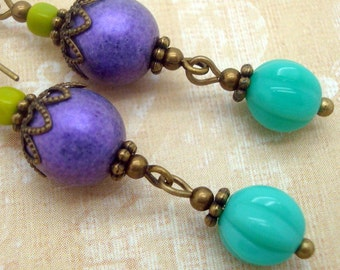 Colorful Boho Earrings in Purple, Turquoise Blue and Lime Green Glass