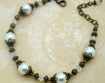 Adjustable Neo Victorian Bracelet with Cream Swarovski Pearls and Antiqued Brass Bead Caps