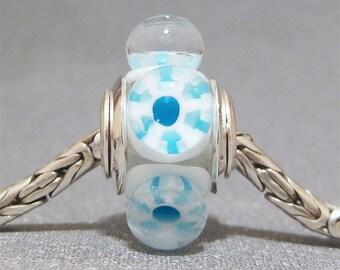 Murrini European Charm Lampwork Glass Dot Bead Big Hole Bead Aqua Snowflake