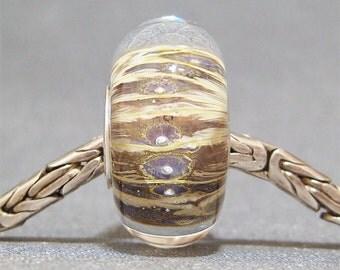 Lavander Lampwork Big Hole Bead SRA Handmade Jewelry Charm Lavandula