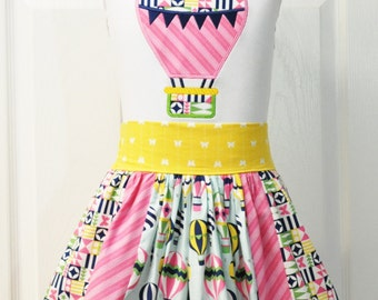 Up Up and Away - 2pc. skirt set  size 5 short sleeve applique tee - Up and Away by Michael Miller - READY TO SHIP!!