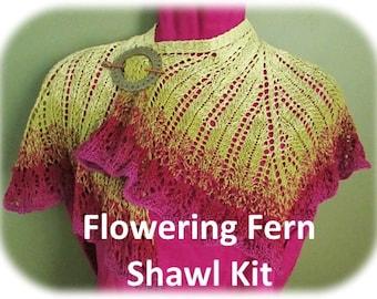 Flowering Fern Shawl kit by Deborah Tomasello using 3-ply Gradient tied cotton