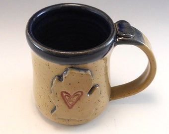 Lower Peninsula of Michigan Mug/Hand Made Love Michigan Heart Mug/Pottery Michigan Mug 12 Ounces