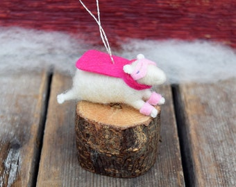 Hero Lamb Ornament in Pink and Magenta - Needle Felted Sheep to the Rescue