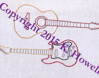 Guitars Hand Embroidery Pattern, Acoustic Guitar, Electric Guitar, Music, Instrument, PDF