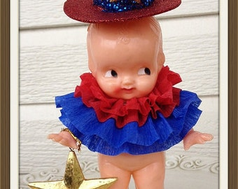 Fourth of July Decoration Vintage Irwin Kewpie Carnival Doll Fourth of July Ornament  Patriotic TVAT