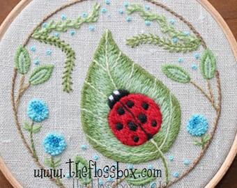 Ladybug on a Leaf Crewel Embroidery Pattern